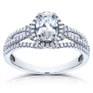 Annello by Kobelli 14k White Gold 1ct TDW Certified Oval Diamond Ring (G, SI1)|https://ak1.ostkcdn.com/images/products/10749625/P17804130.jpg?impolicy=medium
