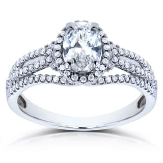 annello by kobelli 14k white gold 1ct tdw certified oval diamond ring g si1 - Oval Wedding Rings