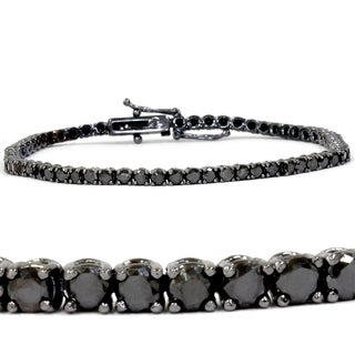 14k White Gold 3ct TDW Black Diamond Tennis Bracelet