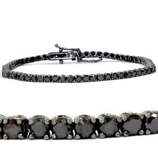 14k White Gold 3ct TDW Black Diamond Tennis Bracelet