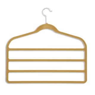 Honey-Can-Do HNGZ01943 Camel Velvet Touch 4-tier Pants Hanger (10-pack)