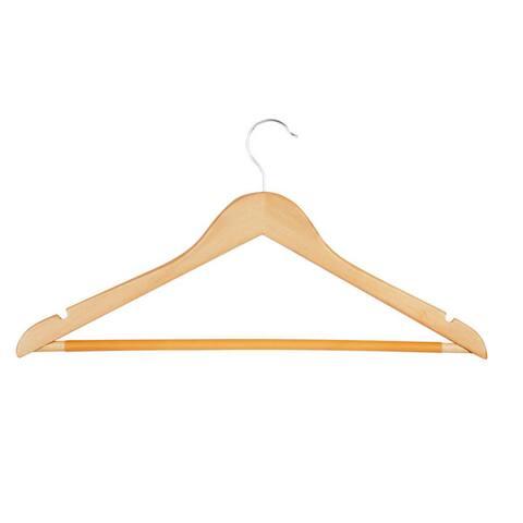 Honey-Can-Do Maple Basic Suit Hanger with Non-slip Bar (8-pack)