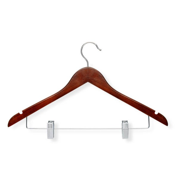 shop honey can do cherry finish basic suit hanger with clips 12 pack free shipping on orders. Black Bedroom Furniture Sets. Home Design Ideas
