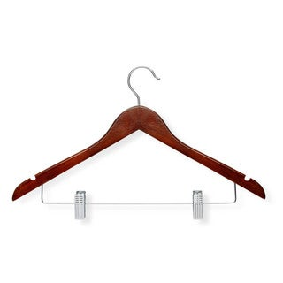 Honey Can Do Cherry Finish Basic Suit Hanger with clips 12-pack