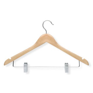 Honey Can Do Maple Finish Basic Suit Hanger with Clips 12-pack