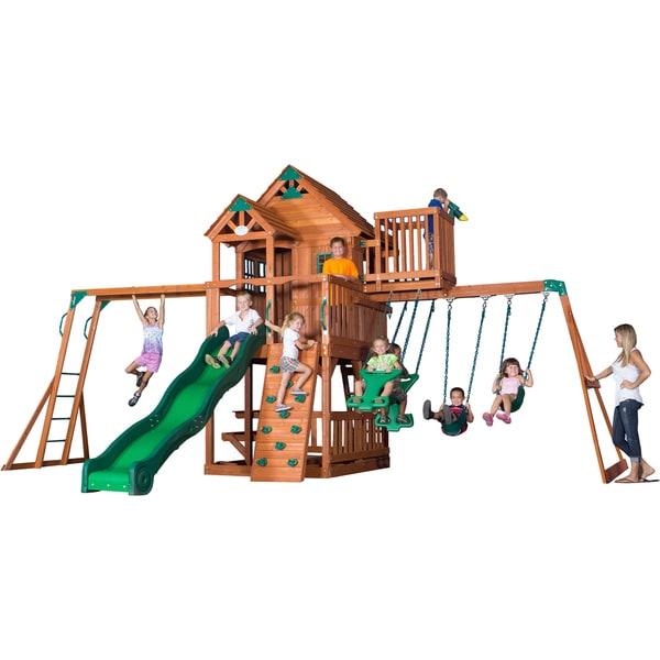 Backyard Discovery Skyfort Ii All Cedar Swingset Free
