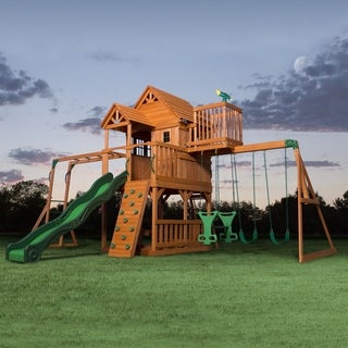 Backyard Discovery Skyfort II Brown All Cedar Swing Set Play Set