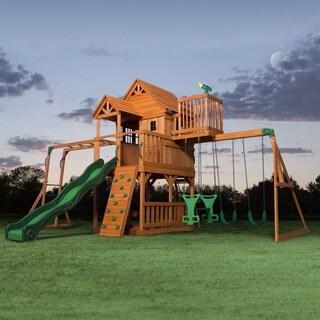 Backyard Discovery Skyfort II Brown All Cedar Swing Set Play Set