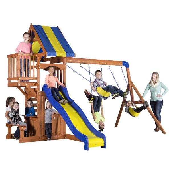 Backyard Discovery Peninsula All Cedar Swingset