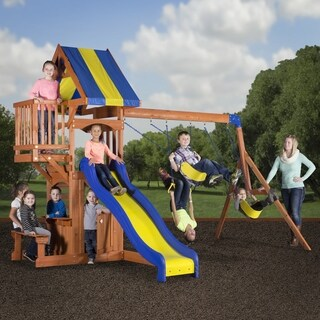 Backyard Discovery Peninsula All Cedar Swing Set Play Set