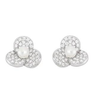 La Preciosa Sterling Silver Cubic Zirconia and Pearl Flower Stud Earrings