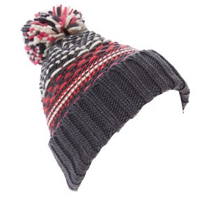 Women's Multicolor Stripe Pom-Pom Beanie Hat