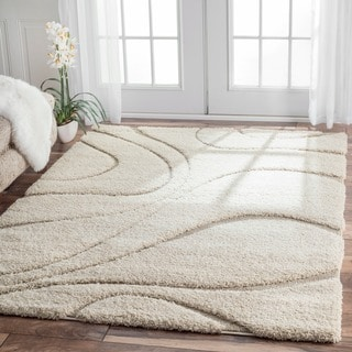 nuLOOM Soft and Plush Curves Ivory/ Beige Shag Area Rug (8' x 10') (As Is Item)