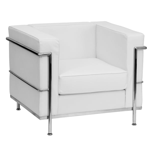 Contemporary LeatherSoft Chair with Double Bar Encasing Frame