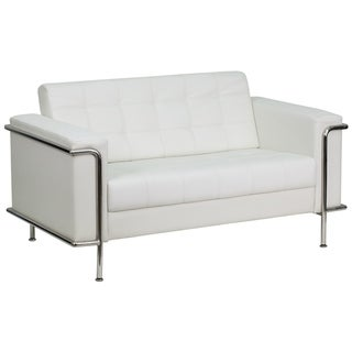 Contemporary LeatherSoft Double Stitch Detail Loveseat w/Encasing Frame