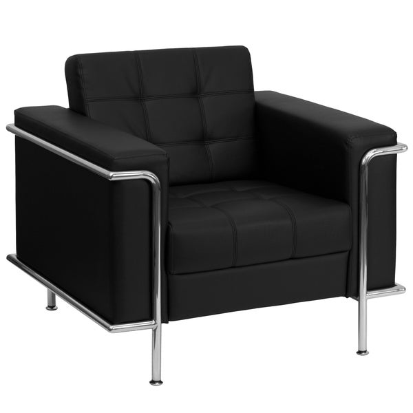 LeatherSoft Double Stitch Detail Chair with Encasing Frame