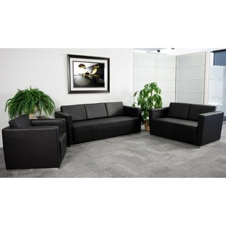 Hercules Trinity Series Black Bonded Leather Reception Group
