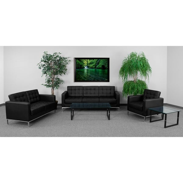 Tufted LeatherSoft Reception Set with Integrated Stainless Steel Frame