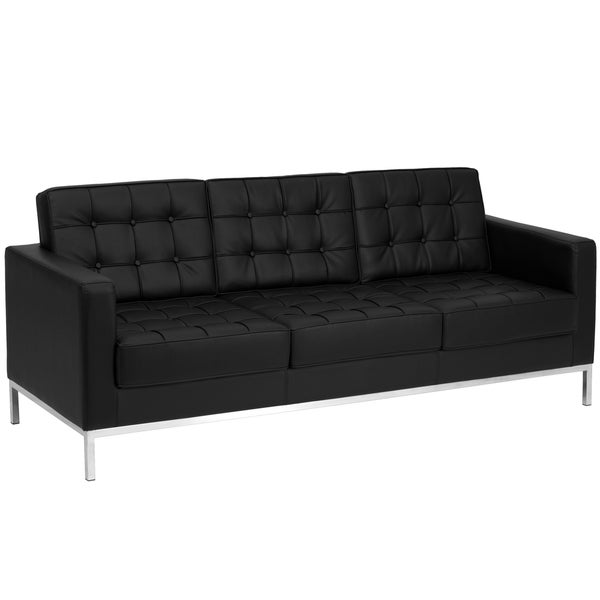 Hercules lacey series contemporary black leather sofa with stainless steel frame free shipping Steel frame sofa