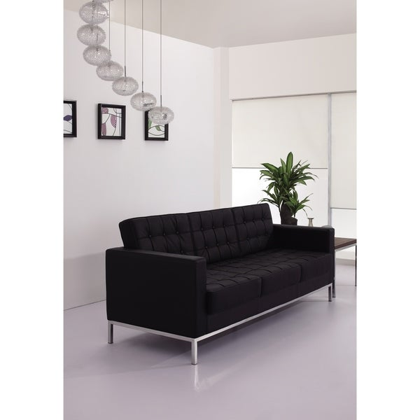 Button Tufted Black LeatherSoft Sofa with Integrated Stainless Steel Frame