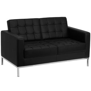 Button Tufted Black LeatherSoft Loveseat w/Integrated Stainless Steel Frame