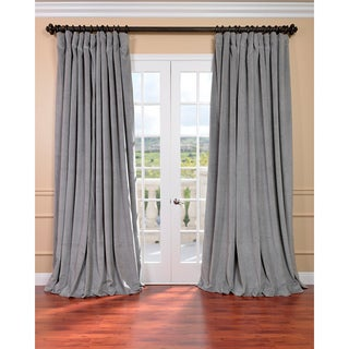 "EFF Silver Grey Velvet Blackout Extra Wide Curtain Panel 108"" (As Is Item)"