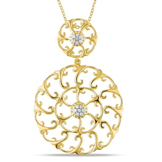 Miadora Yellow Silver 1/6ct TDW Diamond Flower Necklace