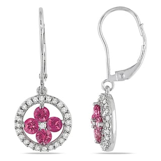 Miadora 14k White Gold 1ct TDW Pink and White Diamond Dangle Earrings