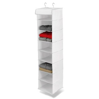 Honey-Can-Do 8 shelf hanging organizer, polyester, white