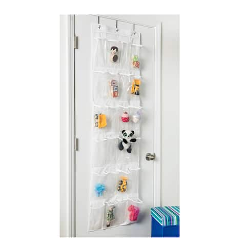 Honey-Can-Do 24 pocket over-door shoe organizer, polyester, white
