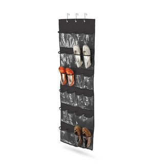 24 pocket over-door shoe organizer, polyester, black