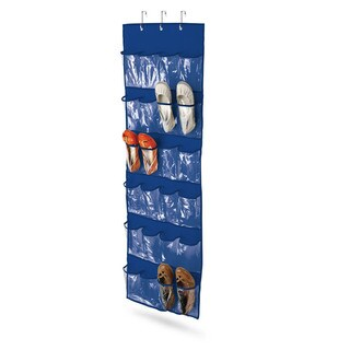 24 pocket over-door shoe organizer, polyester, navy