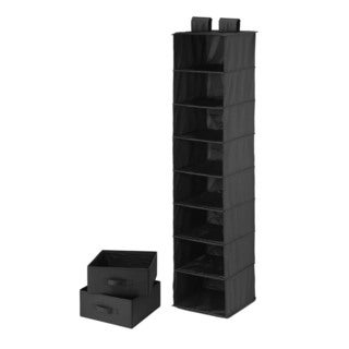 8 shelf organizer and 2 drawers- black polyester