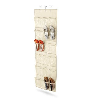 24 pocket over-door shoe organizer, natural tc