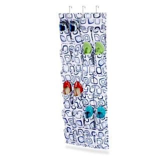 24 pocket otd shoe organizer; (blue/white)