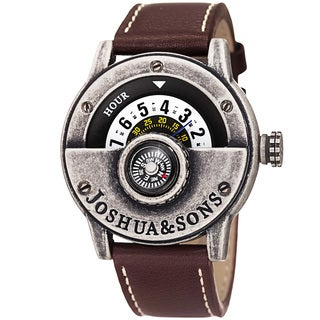 Joshua & Sons Men's Quartz Rotating Wheel Leather Silver-Tone Strap Watch