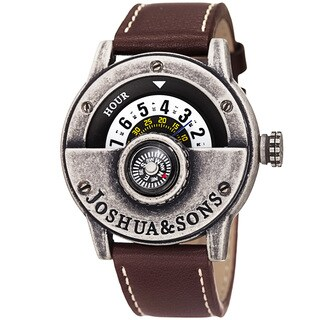 Joshua & Sons Men's Quartz Rotating Wheel Leather Silver-Tone Strap Watch