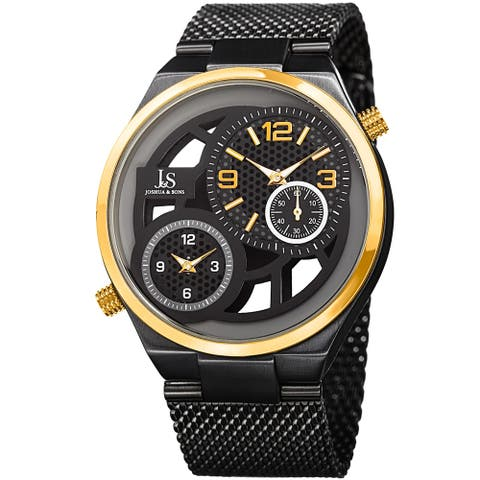 Joshua & Sons Men's Multifunction Stainless Steel Mesh Quartz Black Bracelet Watch - Gold