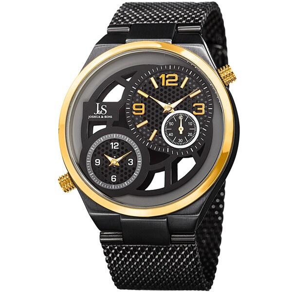 Joshua & Sons Men's Multifunction Stainless Steel Mesh Quartz Black Bracelet Watch - Gold. Opens flyout.