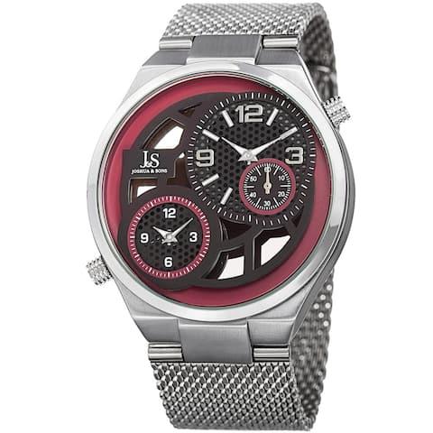 Joshua & Sons Men's Multifunction Stainless Steel Mesh Quartz Red Bracelet Watch