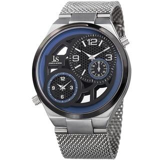 Joshua & Sons Men's Multifunction Stainless Steel Mesh Quartz Silver-Tone Bracelet Watch