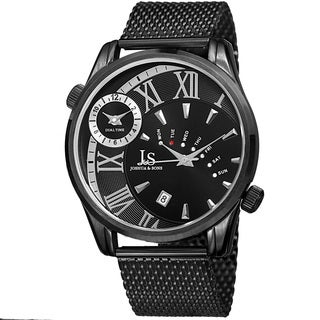 Joshua & Sons Men's Quartz Multifunction Dual Time Stainless Steel Mesh Black Bracelet Watch