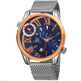 Joshua & Sons Men's Quartz Multifunction Dual Time Stainless Steel Mesh Rose-Tone Bracelet Watch with FREE GIFT - Blue|https://ak1.ostkcdn.com/images/products/10755229/P17808968.jpg?impolicy=medium