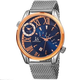 Joshua & Sons Men's Quartz Multifunction Dual Time Stainless Steel Mesh Rose-Tone Bracelet Watch - Blue