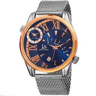 Joshua & Sons Men's Quartz Multifunction Dual Time Stainless Steel Mesh Rose-Tone Bracelet Watch with FREE GIFT - Blue