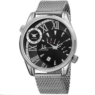 Joshua & Sons Men's Quartz Multifunction Dual Time Stainless Steel Mesh Silver-Tone Bracelet Watch - Silver