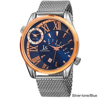Joshua & Sons Men's Quartz Multifunction Dual Time Stainless Steel Mesh Bracelet Watch - GOLD