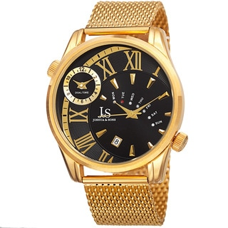 Joshua & Sons Men's Quartz Multifunction Dual Time Stainless Steel Mesh Bracelet Watch with FREE GIFT - Gold