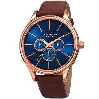 Akribos XXIV Men's Japanese Quartz Multifunction Leather Strap Watch (3 options available)