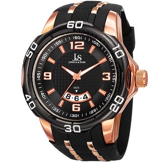 Joshua & Sons Men's Swiss Quartz Diamond Date Black Strap Watch